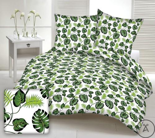 Tkanina bawełniana Liście Pnącza Monstera Palmy Zielone na białym tle